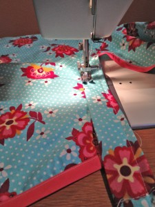 Sewing waistband on apron