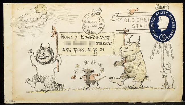 Envelope drawn by Maurice Sendak