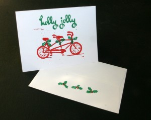 tandem bicycle christmas cards - white