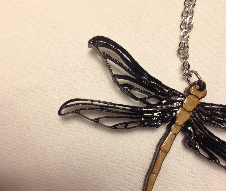 Laser cut dragonfly necklace
