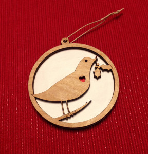Laser cut bird with holly branch ornament