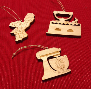 Laser cut Philadelphia, iron and stand mixer ornaments