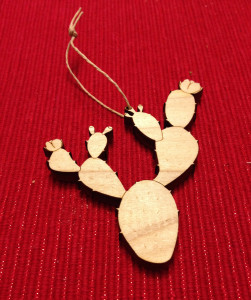 Laser cut prickly pear ornament