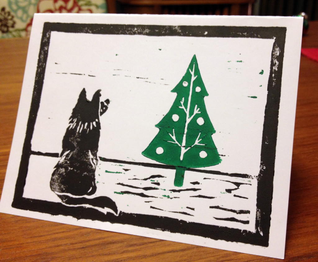 Dog and Christmas Tree Christmas Card